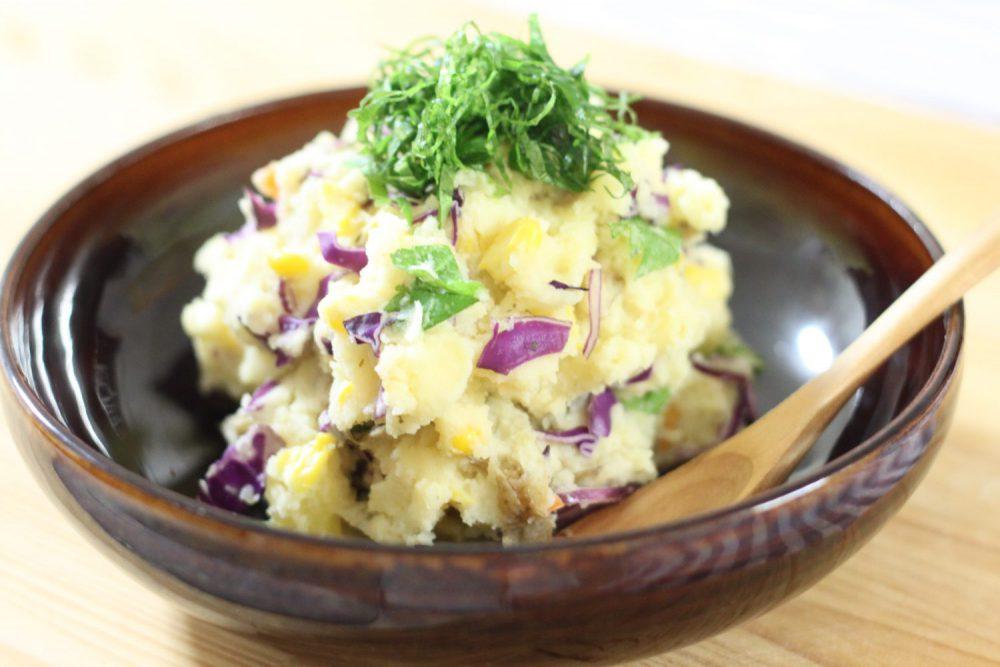 あっさり食べれる大葉レシピ!大葉とコーンの重ね煮ポテトサラダ