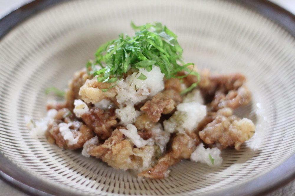 大根の消化酵素で揚げ物も消化に良いレシピ 大葉とカリカリ豚のおろし和え大葉レシピ