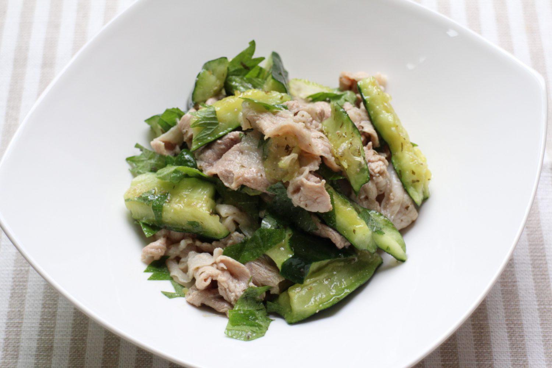 豚肉ときゅうりの大葉和え大葉レシピ