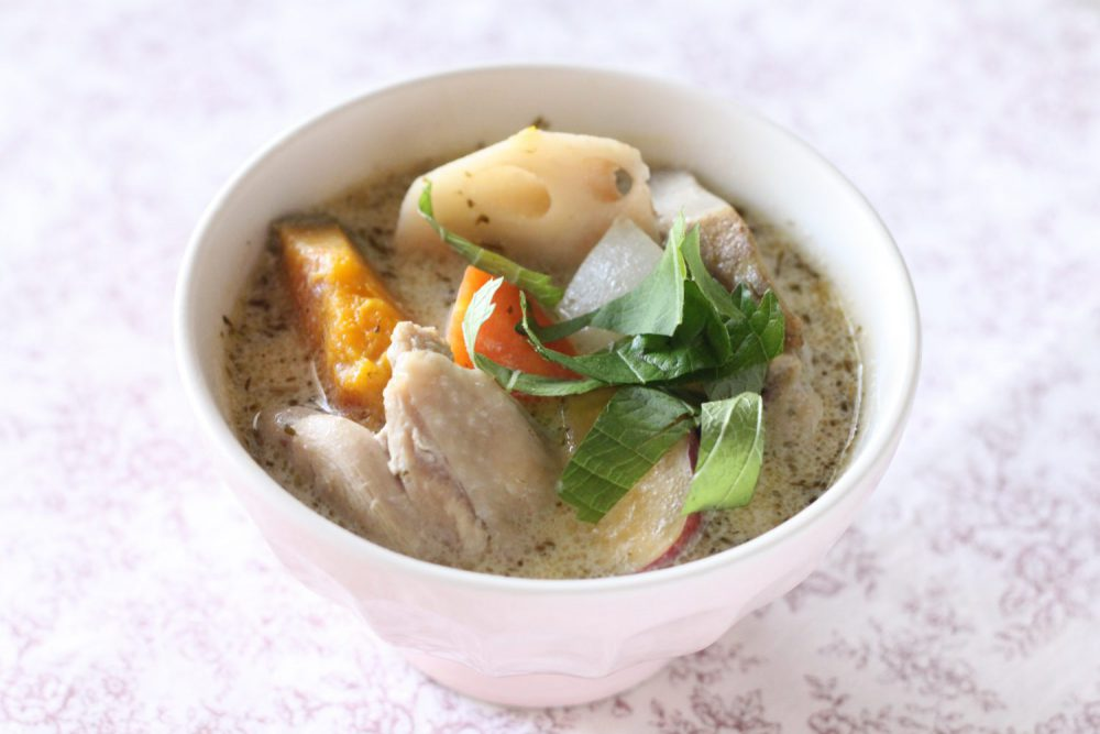 根菜たっぷり大葉みそ豆乳シチュー大葉レシピ