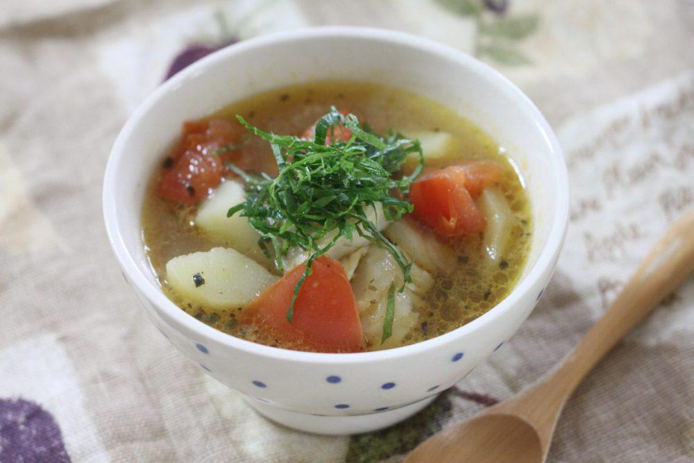タラ(鱈)とトマトの大葉茶スープの大葉レシピ