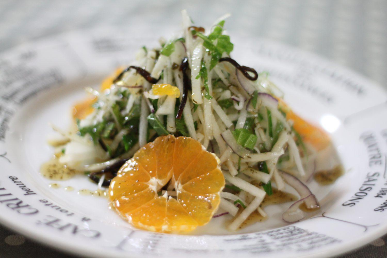 さっぱり大葉レシピ!大葉と大根とみかんのサラダ(青じそドレッシング)
