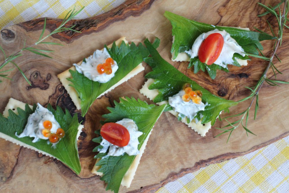 可愛くておいしい大葉レシピ!大葉とクリームチーズのカナッペ