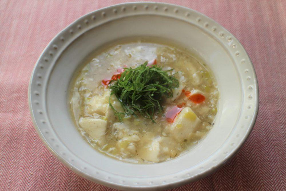 体温まる大葉レシピ!大葉と豆腐のとろみスープ
