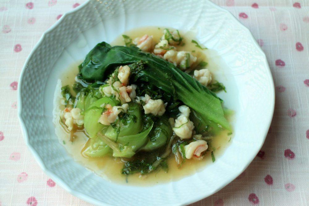 体が温まる大葉レシピ!青梗菜のエビ大葉あんかけ
