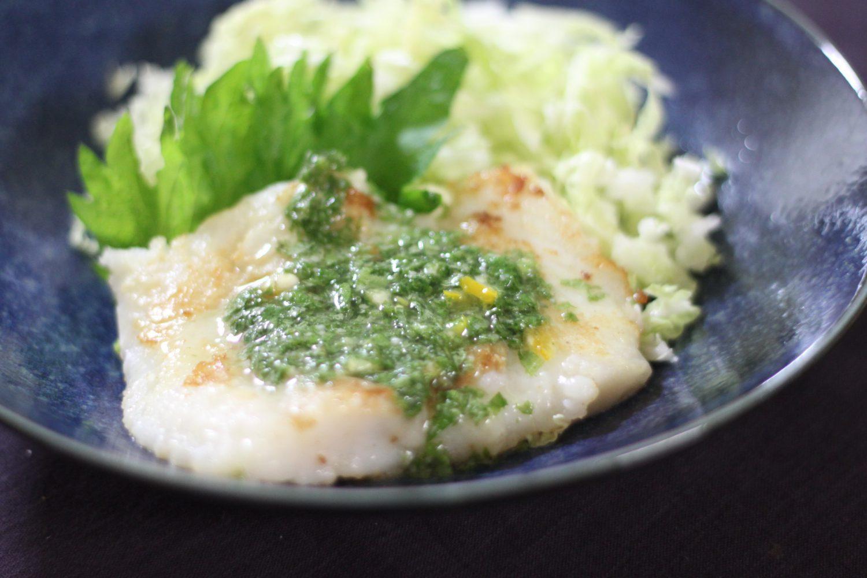 大葉とレモンがさわやかなレシピ!塩麹と大葉レモンダレ(魚のムニエル)