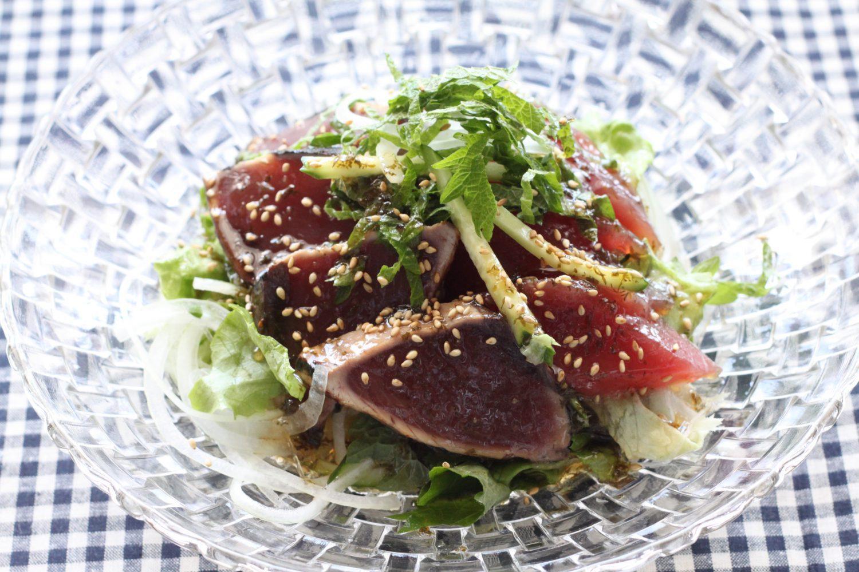 お刺身は抗菌作用の大葉と一緒に食べると良い大葉レシピ お刺身と柚子胡椒の大葉サラダ