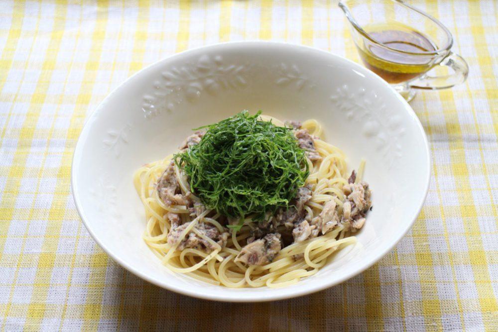 大葉とサバ缶のあえるだけスパゲッティ大葉レシピ