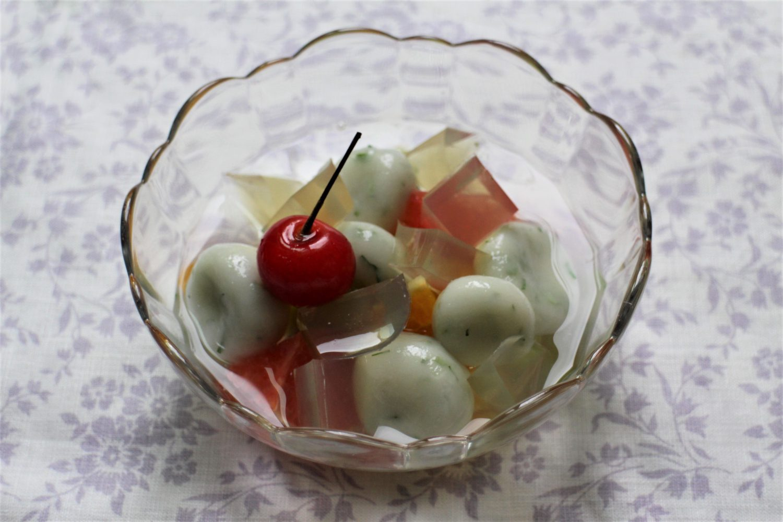 大葉茶寒天&白玉のフルーツポンチ大葉レシピ