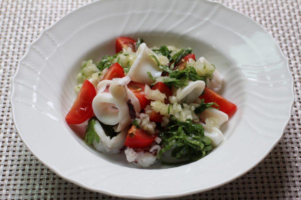 大葉とイカの温かいサラダの大葉レシピ