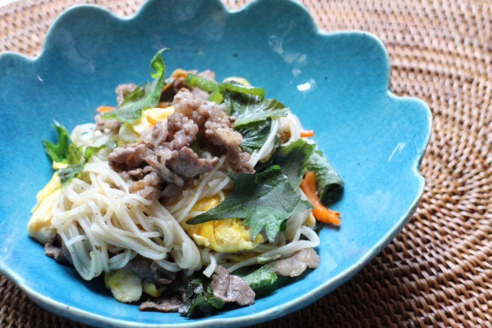 大葉と牛肉のそうめんチャンプルー大葉レシピ