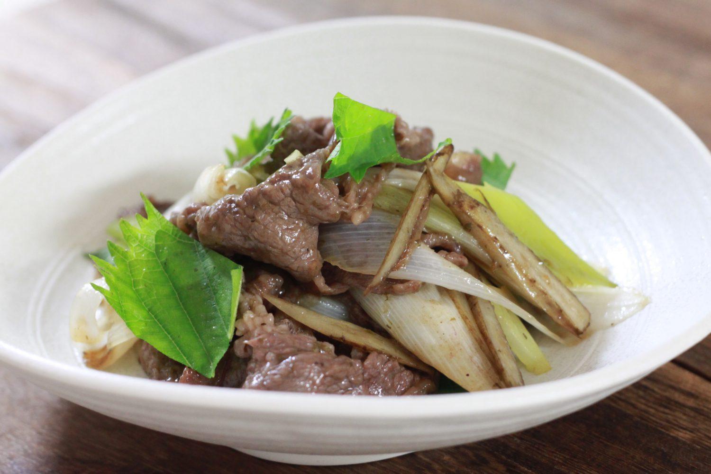 牛肉と長ネギの大葉塩ダレ炒め大葉レシピ