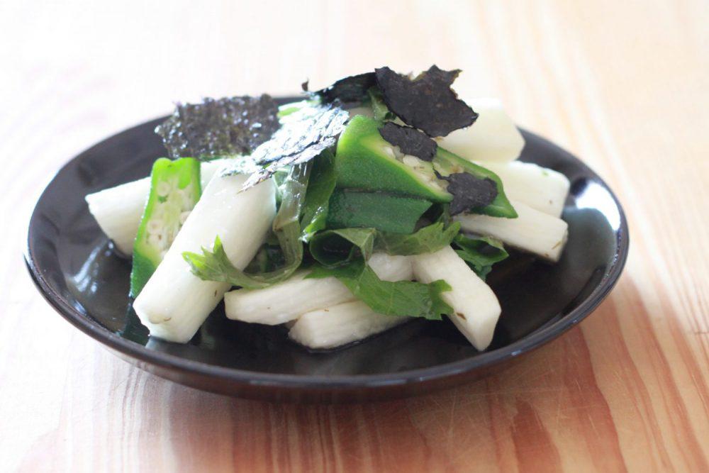 オクラと長芋のわさび大葉ドレッシング和え大葉レシピ
