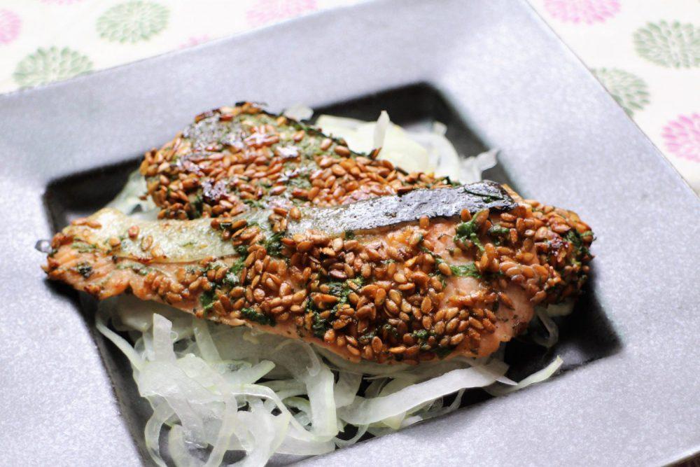 秋鮭の大葉アマニ焼き大葉レシピ