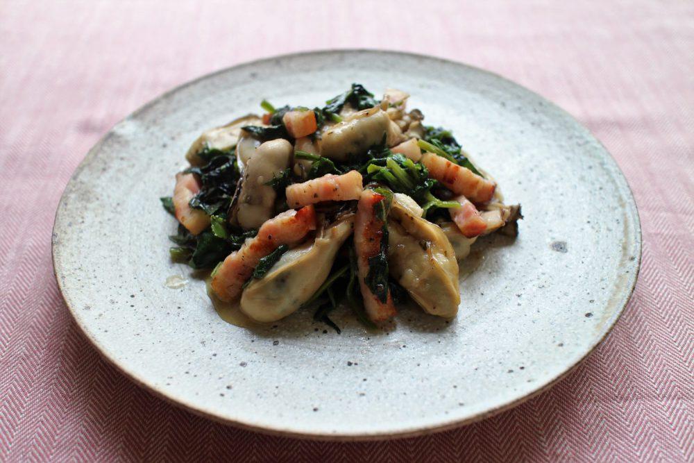 牡蠣とほうれん草の大葉炒め 大葉レシピ