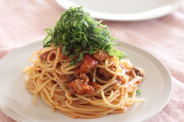 大葉とサバ缶のトマトソースパスタ 大葉レシピ