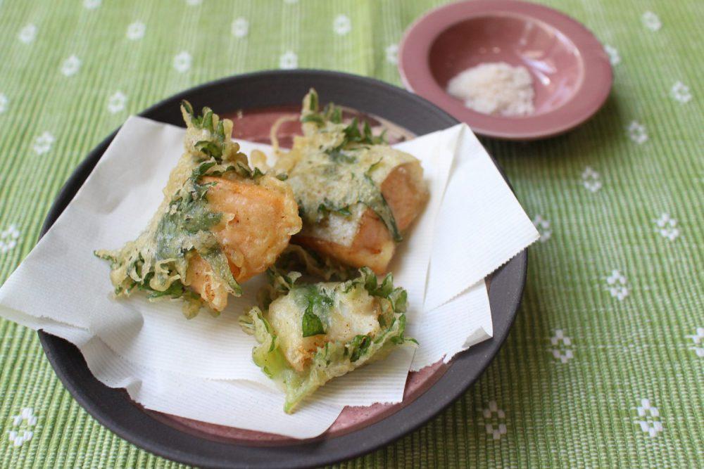 銀鮭とホタテのおボア包み天 大葉レシピ