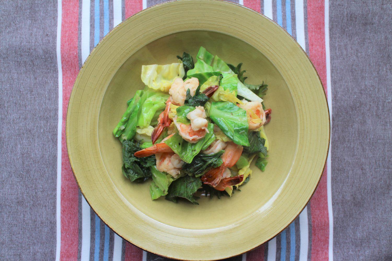 大葉と春キャベツのアヒージョ風炒めの大葉レシピ