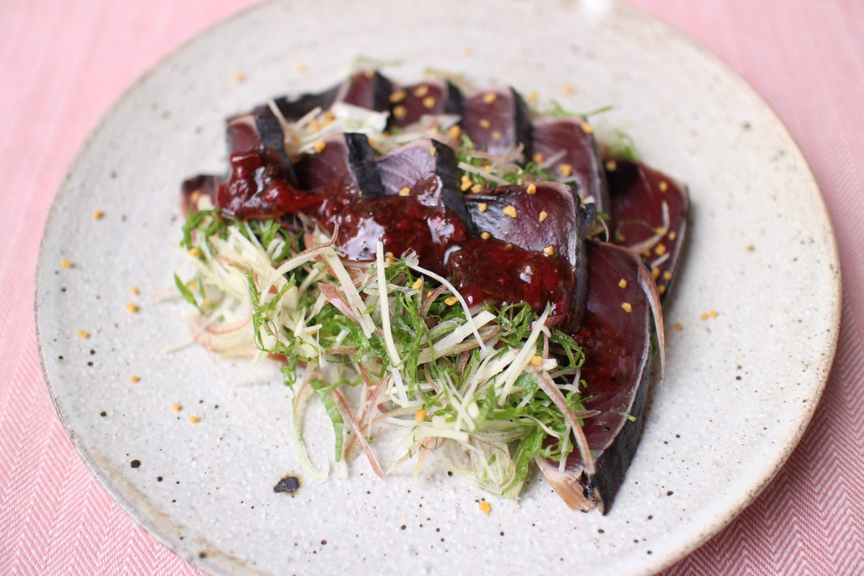 カツオのたたき 梅シソドレッシング 大葉レシピ