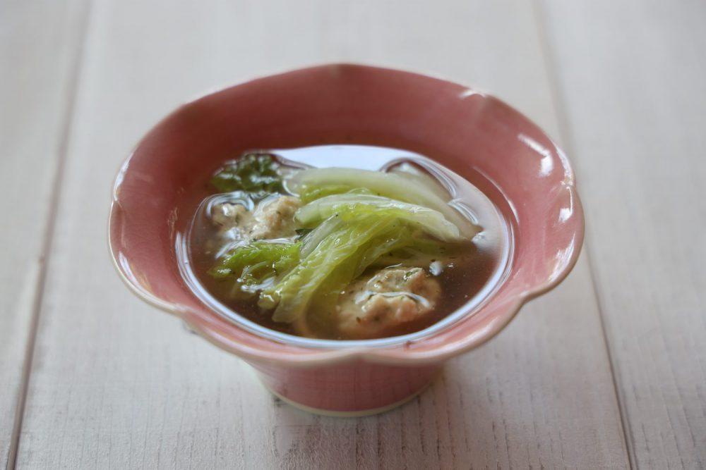 鶏だんごの白菜スープ 大葉レシピ