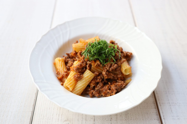 大葉ミートソースのリガトーニ 大葉レシピ