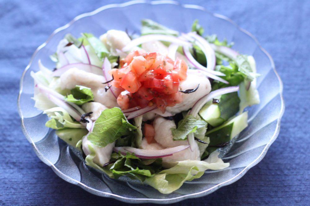 大葉ドレッシングをつかった鶏の湯引きサラダ 大葉レシピ