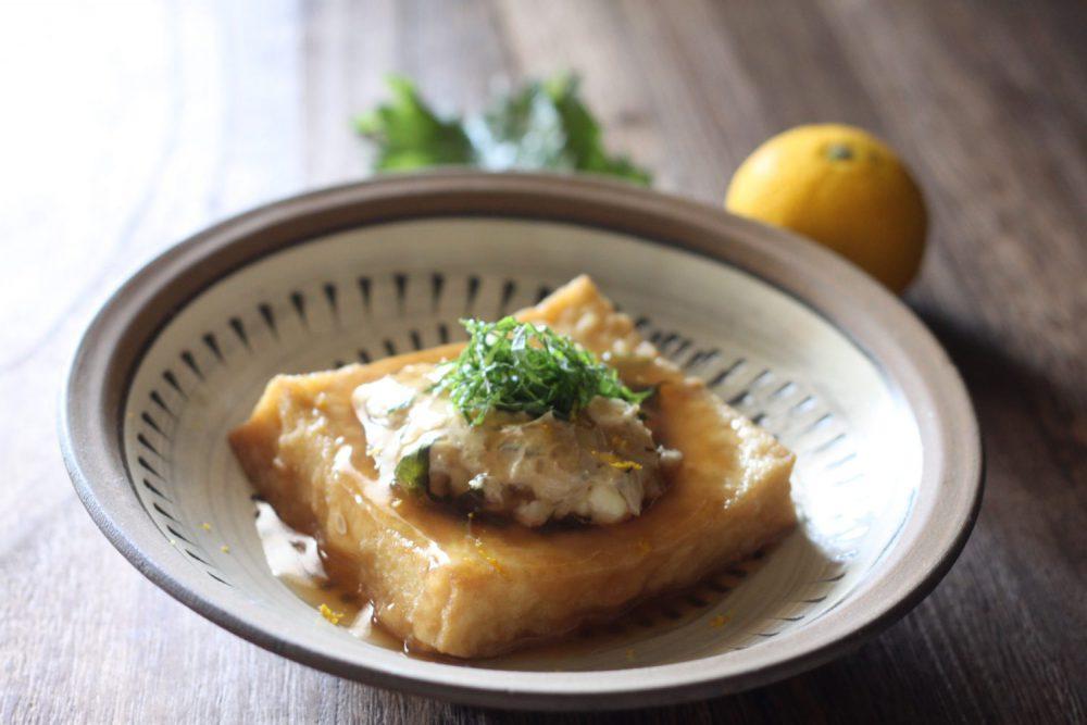 大葉みそを使った厚揚げ鶏ミンチ煮 大葉レシピ